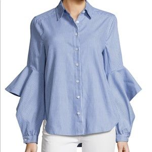 BCBGMAXAZRIA Blue Thelma Striped Ruffle Shirt